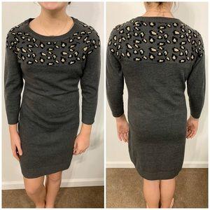 Sequin Hearts Gray Sweater Dress